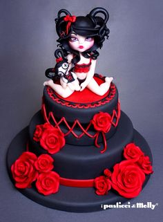 Cake for a spoiled brat Pretty Cakes, Cute Cakes, Beautiful Cakes, Amazing Cakes, Crazy Cakes, Fancy Cakes, Pink Cakes, Gothic Wedding Cake, Gothic Cake