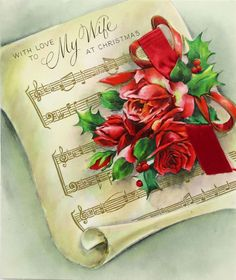 Vintage Hallmark Christmas Card for Your Lovely Wife With Beautiful Red Roses and Loving Message to Your Loved One by StructureandSpice on Etsy