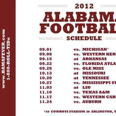 Alabama Football Schedule 2012