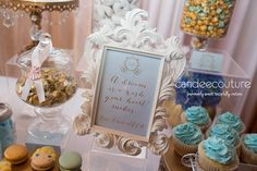 Cinderella Sweet Table sign at Ella's Cinderella Sweet Table - Candee Couture Dallas, Texas