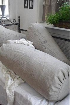 ~ bolsters from… Bolster Cushions, Diy Pillows, All White Room, Old Barn Wood, Grey Furniture, Linens And Lace, French Country Decorating, Decoration, Linen Bedding