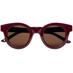 Round frame sunglasses in solid deep burgandy gloss handmade of Italian  acetate. Black Carl Zeiss lenses with 100% UV protection and a five bar  hinge with two visible rivets on temple. Comes in a hard case and a glossy  paper outbox. Style: Type 02 (Edie). Size: 45 Eye / 25 Bridge / 140 Templ