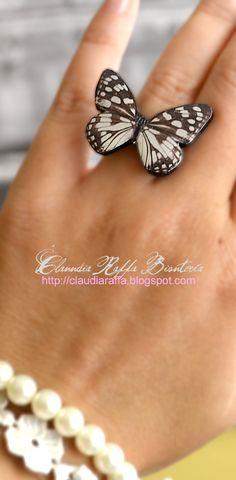 Anillo mariposa cebra / Claudia Raffa - Bisutería Artesanal - Artesanio