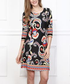 Look at this Reborn Collection Black Paisley Shift Dress on #zulily today!