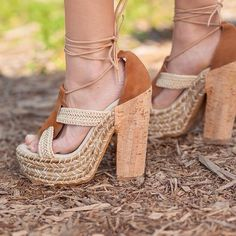 """⬇Free people High Society Platform Sandal Give your summer look a boho-chic finish with this lace-up platform sandal shaped from an earthy mix of suede and raffia. A chunky cork heel furthers the style's retro vibe, while a padded footbed offers comfort and support.  5 1/2"""" heel; 2"""" platform (size 39). Leather and raffia upper/leather lining/rubber sole. By Free People; made in Spain. Free People Shoes Platforms"""