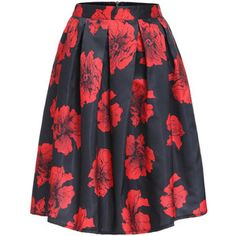 SheIn(sheinside) Red Black Floral Flare Midi Skirt