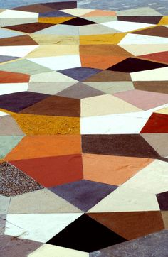 Gio Ponti did this type of geometric polychrome floor before anyone! This one is a modern version done by artist Elvira Wersche. She does giant floor paintings on a huge scale. Floor Patterns, Tile Patterns, Textures Patterns, Print Patterns, Deco Design, Design Trends, Design Ideas, Motifs Textiles, Painted Floors