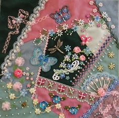 CQ -Pink, blue , teal colors w/crochet roses, tatted butterfly motif, beading & embroidery .