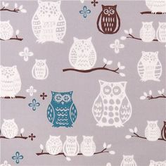 grey monaluna owl animal organic fabric Hoot