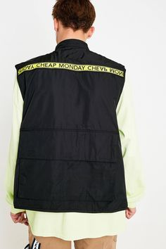 Cheap Monday Service Tape Black Utility Gilet | Urban Outfitters UK Cheap Monday, Recycled Fabric, Vest Jacket, Latest Fashion, Urban Outfitters, Fitness Models, Tape, How To Wear, Jackets