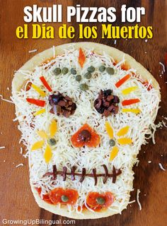 Family Movie Night- The Book of Life: Skull Pizza for Dia De Los Muertos--> 28 Yummy recipes to celebrate Dia de los Muertos