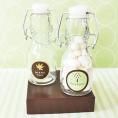 """Fall for Love"" Personalized Mini Glass Bottles  at WeddingFavors.org"