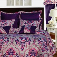 An impressive showcase of elegance and sophistication, this intriguing all-cotton bedding collection by Tribeca Living features damask pattern in royal purpl. Room In A Bag, Bed In A Bag, My New Room, Purple Bedrooms, Purple Bedding, Floral Bedding, Damask Bedding, Colorful Bedding, Purple Home Decor