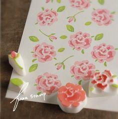 バラ箱 : ふわふわ堂 Diy Stamps, Handmade Stamps, Fabric Stamping, Stamping Up, Diy And Crafts, Crafts For Kids, Paper Crafts, Stamp Printing, Printing On Fabric