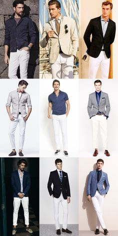 Men's Spring White Trousers Outfit Inspiration Lookbook