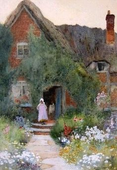 Outside a Country Cottage ~ Ernest Walbourn ~ (English: 1872-1927)