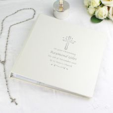 Personalised Photo Album with Silver Cross Design. All the photos of a First Holy Communion or Confirmation can be kept beautifully preserved inside a charming personalised album