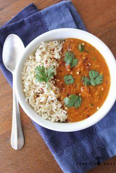 Pressure Cooker Red Lentil Curry. Oil free. V. GF.