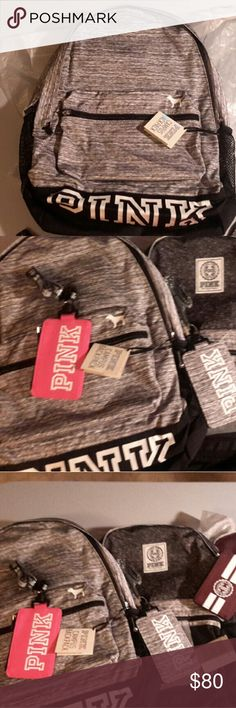 Grey marl ed victoria secret pink backpack Nwt. I also have matching lanyard for sale in my listings. And other backpacks & lanyards. Firm no trade. PINK Victoria's Secret Bags Backpacks