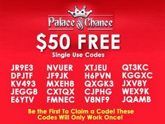 $50 free chip no deposit bonus at Palace of Chance. https://plus.google.com/117019067753472355960/posts/8roDDEcQw84  Single use only! Try your luck now!