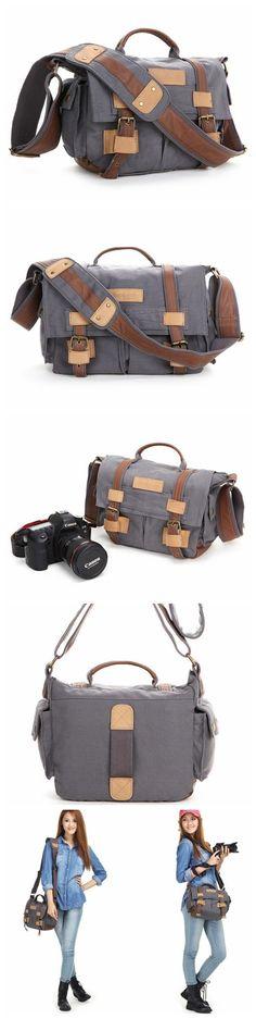 Leather Trimmed Waxed Canvas DSLR Camera Bag, Messenger Bag, Diaper Bag