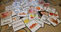 Material para aprender vocabulario básico de diferentes campos semánticos compuestos por 36 tarjetas en las que en una cara tiene la foto...