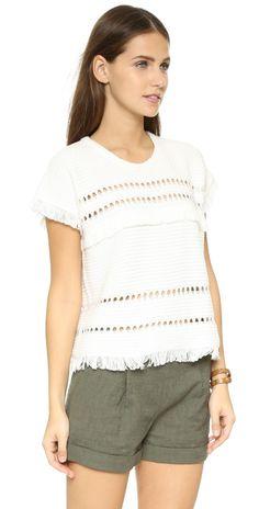 Madewell Short Sleeve Fringe Sweater | SHOPBOP