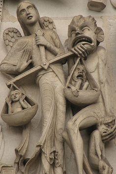 creativity and healing: Judgment of Osiris, Angel Michel, Raphael, Gabriel and saints Catholic Doctrine, Romanesque Art, Art Roman, Kunst Online, Archangel Michael, Stone Sculpture, Angels And Demons, Medieval Art, St Michael
