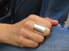 Silver ring - Wide band ring, Adjustable ring, Tube ring, Statement ring, Silver accessories,Silver jewelry