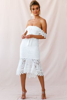 Shop the Patience Lace Bodycon Midi Dress White exclusively at Selfie Leslie! High Low Hem Dresses, Tight Dresses, Girls Dresses, Informal Wedding Dresses, Elegant Dresses, Salsa Dress, White Midi Dress, Frill Dress, Shower Dresses
