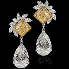 Kamyen Jewellery @kamyenjewellery 10 carat pear shapes earrings with fancy yellow cushions  #purplebyanki