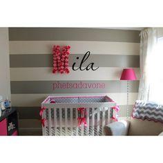 girls modern baby nursery, diy nursery wall art ❤ liked on Polyvore
