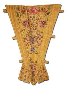 Stomacher of embroidered yellow silk faille, English, ca. 1760s, KSUM 1983.1.1517