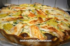 Tarte aux pommes de teree et au brie Flan Au Caramel, Cabbage, Gluten, Vegan, Vegetables, Breakfast, Quiches, Food, Cake