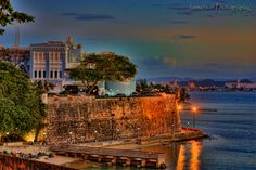 The City Wall... - The city wall and the governor's mansion in old San Juan Puerto Rico.  It made for a beautiful sunset stroll...