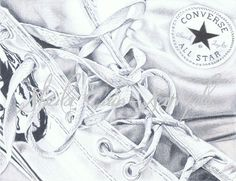 Graphitint drawing of Converse running shoes