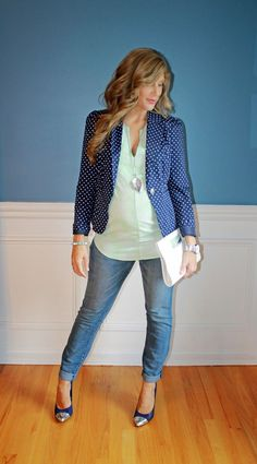 Outfitted411: Fall Blazer... maternity fashion blazer denim heels