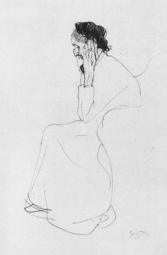 Klimt,Gustav: Sitzende alte Frau im Profil  - 1905