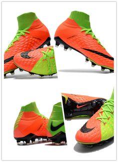 d8e43946d Chaussures Nike Hypervenom Phantom DF III FG Vert Orange Matière   Nike  Skin