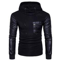 Autumn winter spell leather sleeves hooded Zipper Men's Hoodies Sweats – myshoponline.com