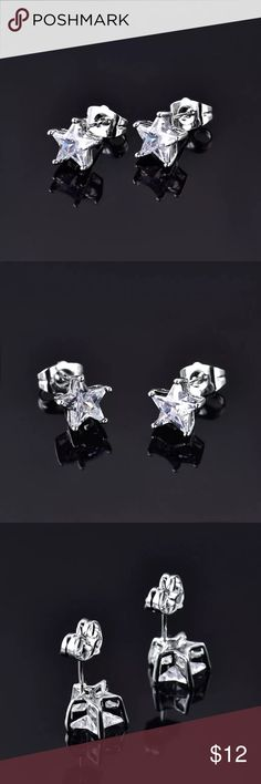 White Sapphire CZ & White Gold Star Earrings White Sapphire cubic zirconia and white gold filled star earrings. 9mm in size. See photo #4 for information on gold filled vs. gold plated. Gulicx Jewelry Earrings