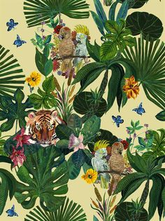 Jungle Wallpaper, Decorative Wallpaper, Wallpaper with a difference, Tigers, Tropical leaves, Nathalie Lete
