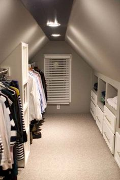 See a lot more ideas regarding Walk in Closet, Walk in wardrobe style and Bedroom ideas. We can aid you get the best walk-in closet to suit your demands. All of these aspects develop the base for the style as well as the framework of the walk-in closet. Attic Closet, Attic Playroom, Attic Rooms, Attic Spaces, Closet Bedroom, Attic Office, Attic House, Attic Apartment, Attic Library