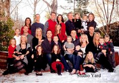 Red, black, gray and white color scheme for Winter family pictures. Large Family Photography, Large Family Portraits, Large Family Poses, Family Portrait Poses, Family Posing, Photography Ideas, Group Photography, Portrait Ideas, Large Family Photo Shoot Ideas Group Poses