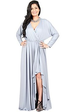 a1f72ee3ee5 Adelyn Vivian Womens Long Plus Size Sleeve Sexy Formal Fall Gown Crossover VNeck  Full Arm Length