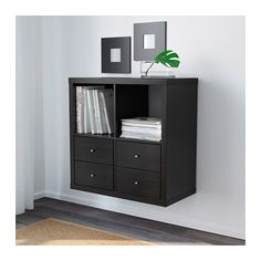 KALLAX Shelving unit - Hang on the wall as a nightstand, baskets underneath!