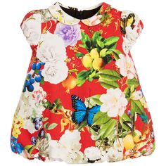 Baby girls red 'Wonderland' floral print dress by Roberto Cavalli. Made in smooth and stretchy cotton jersey, this beautiful design has a cute 'bubble' hem and peter pan collar, with capped, elasticated sleeves. It fastens at the back with a zip and is lined for comfort.