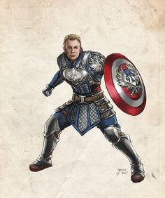 Captain America in Dragon Age AU by slugette on DeviantArt Captain America Cosplay, Captain America Suit, Marvel Art, Marvel Avengers, Marvel Comics, Dnd Characters, Fantasy Characters, Dragon Age, Grey Warden