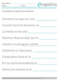 ✅ Ejercicios de Lenguaje para mayores| Estimulación Cognitiva Senior Activities, Activities For Adults, Special Education Behavior, Kids Education, Spanish Worksheets, Worksheets For Kids, Elementary Spanish, Spanish Class, School Hacks