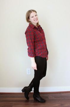 Friday Night Links   Something Good, flannel, plaid flannel, leggings, leather panel legging, ankle boots, booties